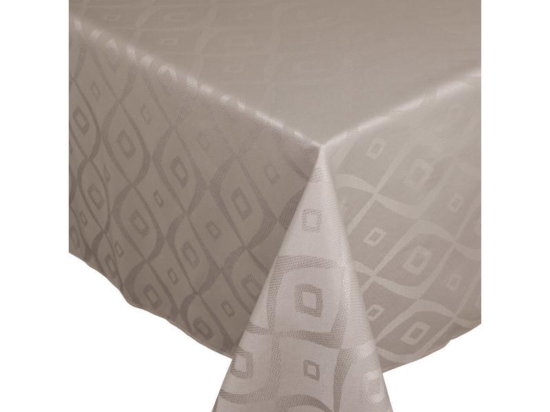 Nappe carrée 175x175 cm jacquard 100% polyester brunch taupe