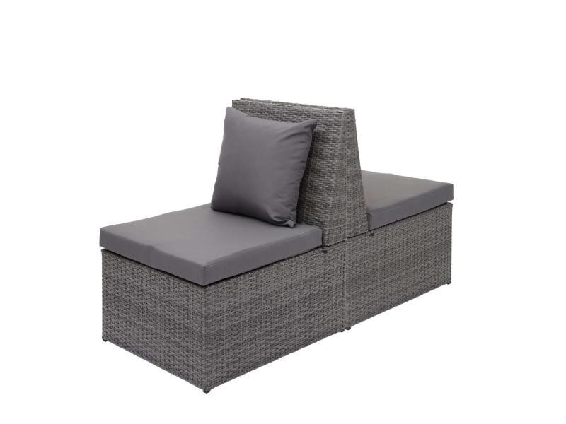 2x fauteuil en polyrotin hwc-g16, chaise de jardin, gastronomie ~ gris, coussin gris foncé