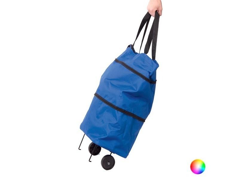 Panier à courses en polyester et en nylon pliable - sac de courses avec roues couleur - bleu