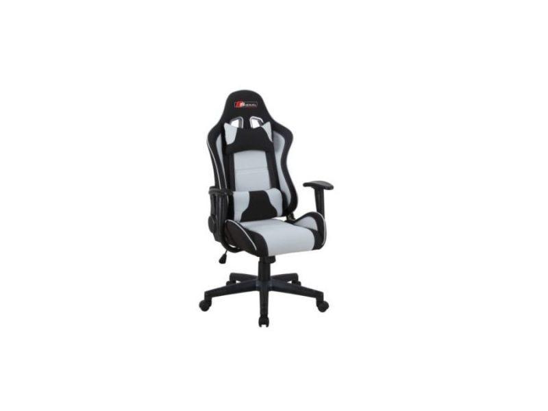 Viter - fauteuil pivotant gaming bureau - hauteur réglable 127-135 cm - 2 coussins - mécanisme tilt - chaise bureau - gris