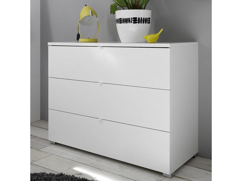 Commode 3 tiroirs blanche design tiavano - Vente de NOUVOMEUBLE - Conforama - Conforama