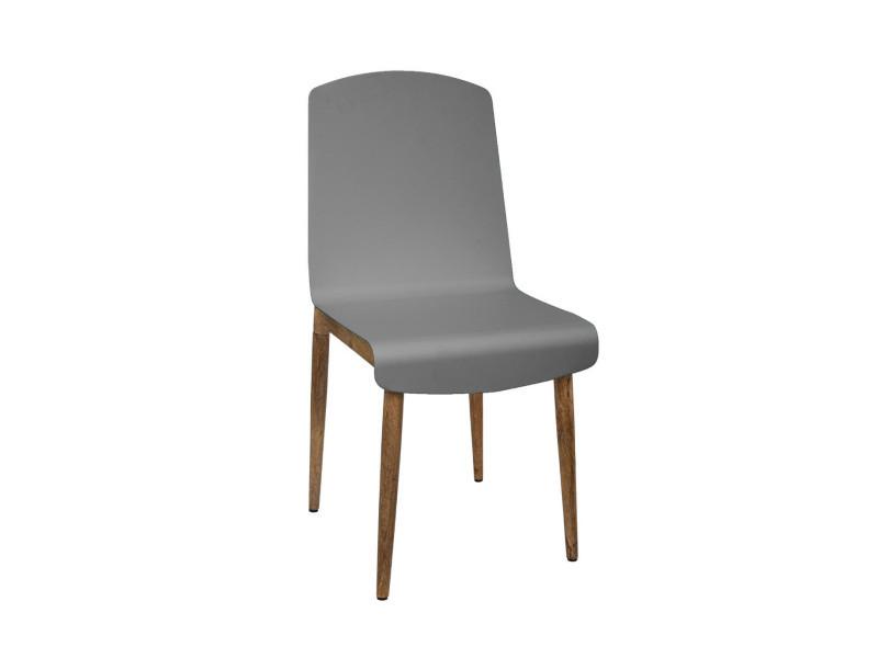 Atmosphera - chaise de salle à manger en bois de manguier et acier gris h 87.5 cm