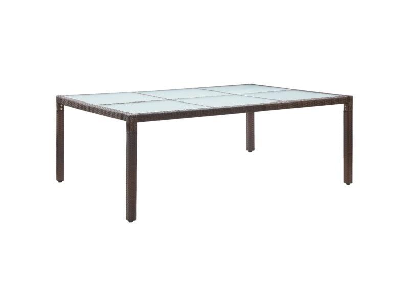 Stylé mobilier de jardin serie n'djaména table à dîner d'extérieur marron 200x150x74 cm résine tressée