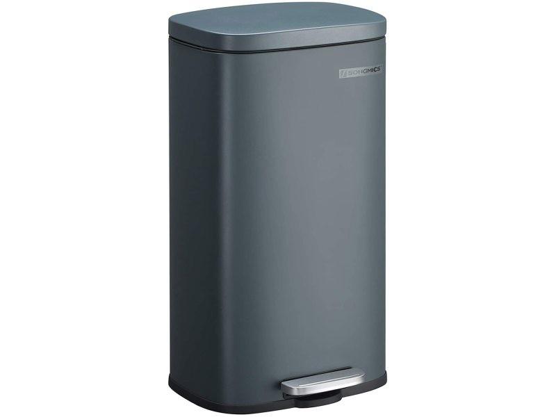 Poubelle 30 litres à pédale fermeture lente anti-odeur et hygiénique gris anthracite helloshop26 12_0000915