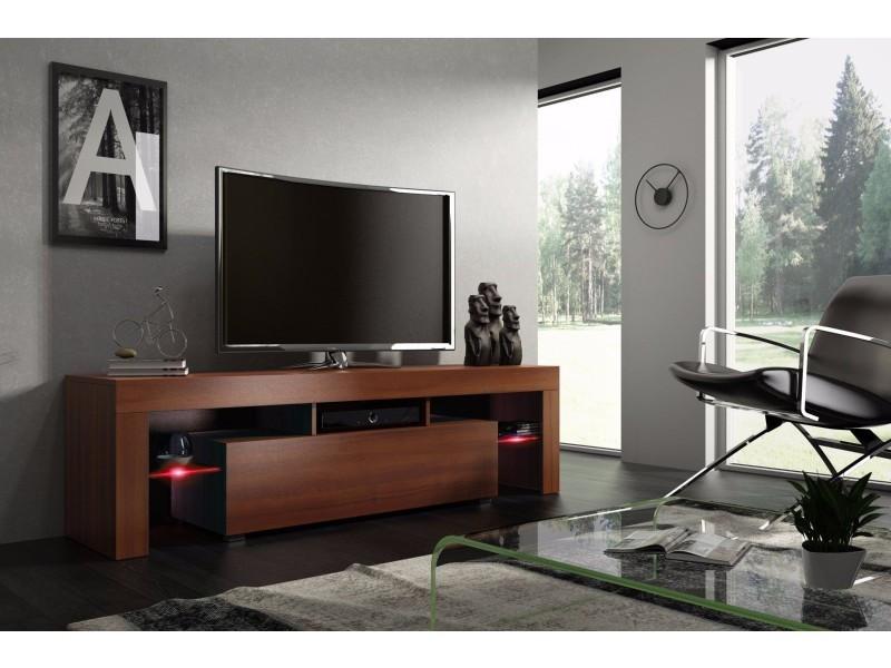 Meuble tv 160 cm noyer mdf avec led rgb