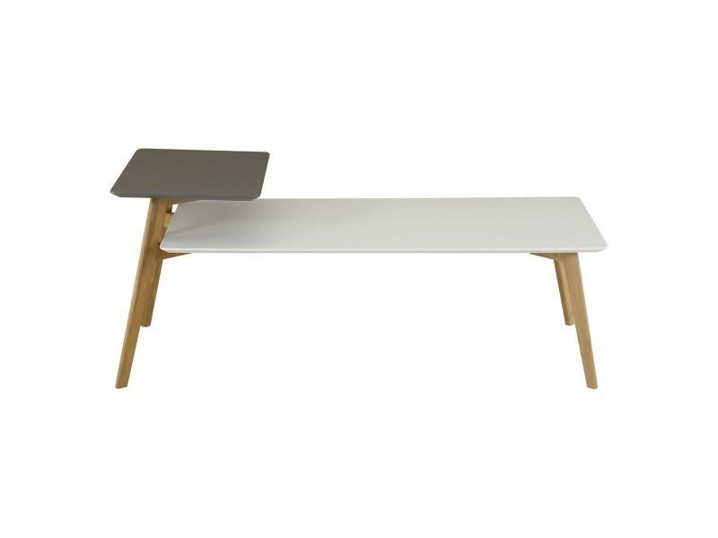 Table basse 130 cm double plateaux gris et blanc scandie BLOOM-TBR130