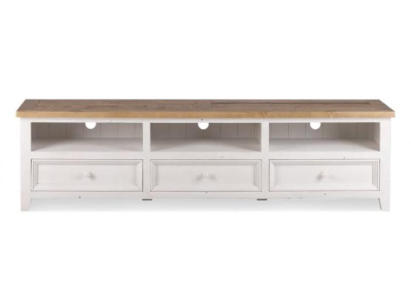 Meuble tv bas rangement bois blanc césuré 210x45x55cm - décoration d'autrefois