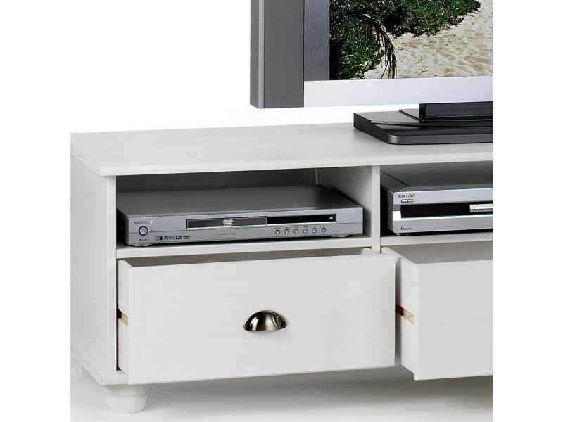 meuble banc tv vintage pin massif lasur blanc conforama. Black Bedroom Furniture Sets. Home Design Ideas