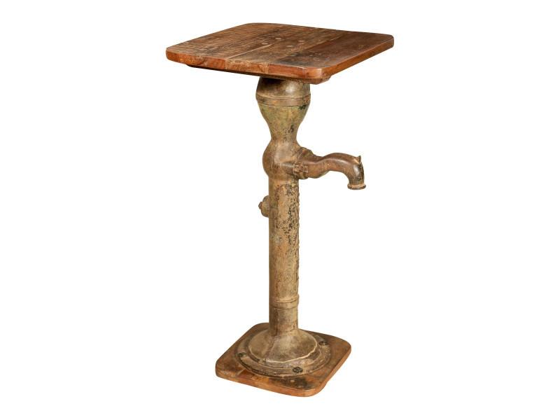 Table basse carrée en fonte l44xpr44xh89 cm, décoration d'extérieur