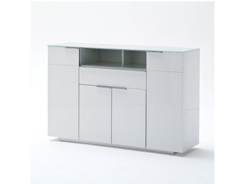 Buffet cambridge laqué blanc brillant plateau en verre blanc 4 portes 1 tiroir 20100890546