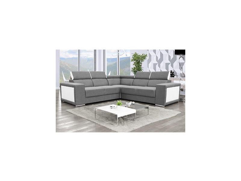 Canapé d'angle 6 places en tissu gris et pu blanc - omaha