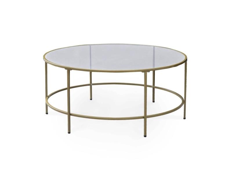 Chloe - table basse ronde noir et métal