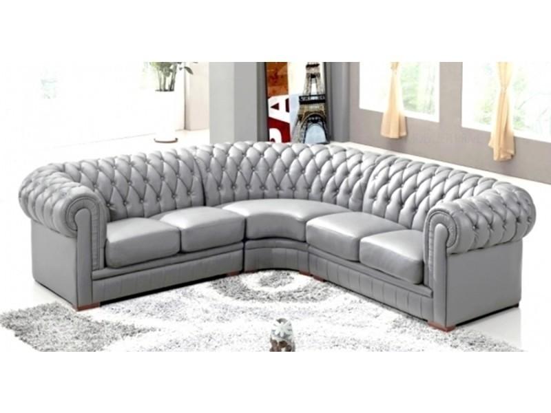 Canapé d'angle capitonné cuir chesterfield gris-