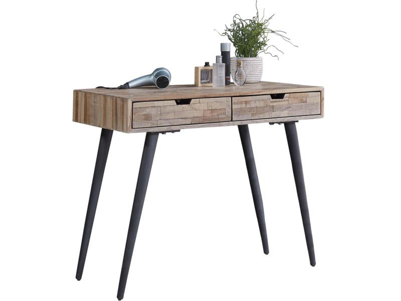 Bureau design scandinave en bois massif teck avec piètement
