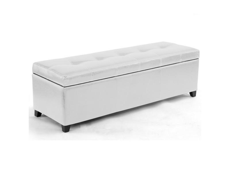 banquette coffre milano blanc vente de pouf conforama. Black Bedroom Furniture Sets. Home Design Ideas