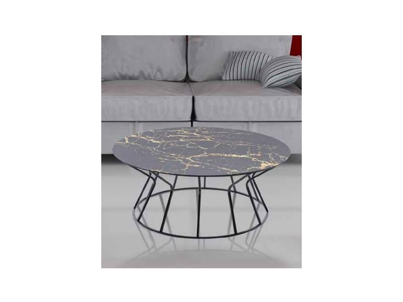 Table basse dbk noir verre marbre doree TABLE BASSE DBK noir verre marbre doree