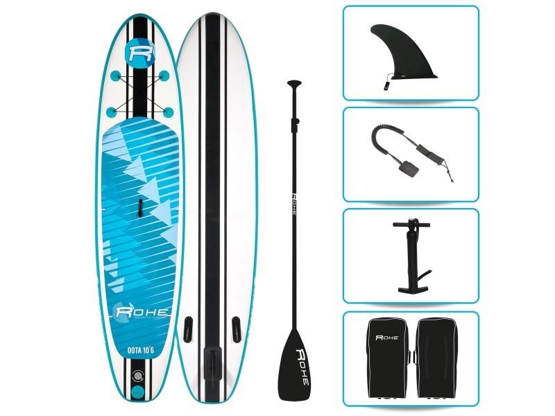 Stand up paddle gonflable oota rohe - 10'6'' (320cm) 30'' (76cm) 6'' (15cm) avec pompe, pagaie, leash et sac de transport