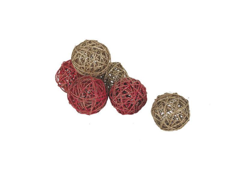 Lot de 6 boules de noël en rotin, coloris assortis, ø 7 cm -pegane-