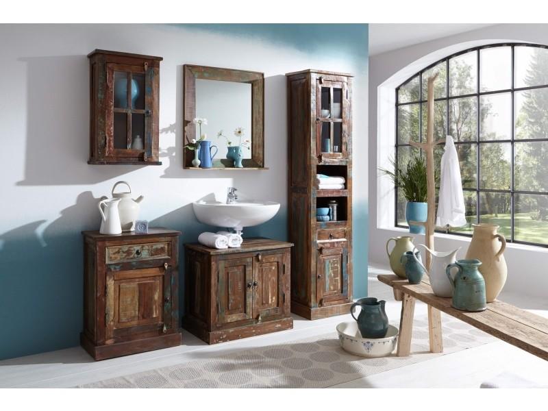 Meuble sous vasque rustique en bois recyclé 66x43 cm avec 2 portes ...