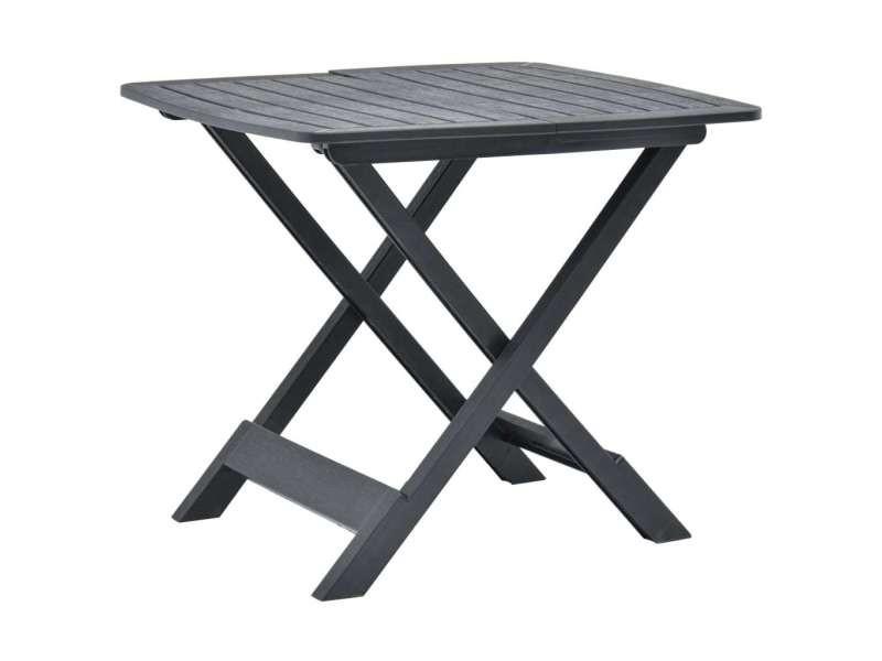 Contemporain mobilier de jardin serie nassau table pliable de jardin anthracite 79x72x70 cm plastique