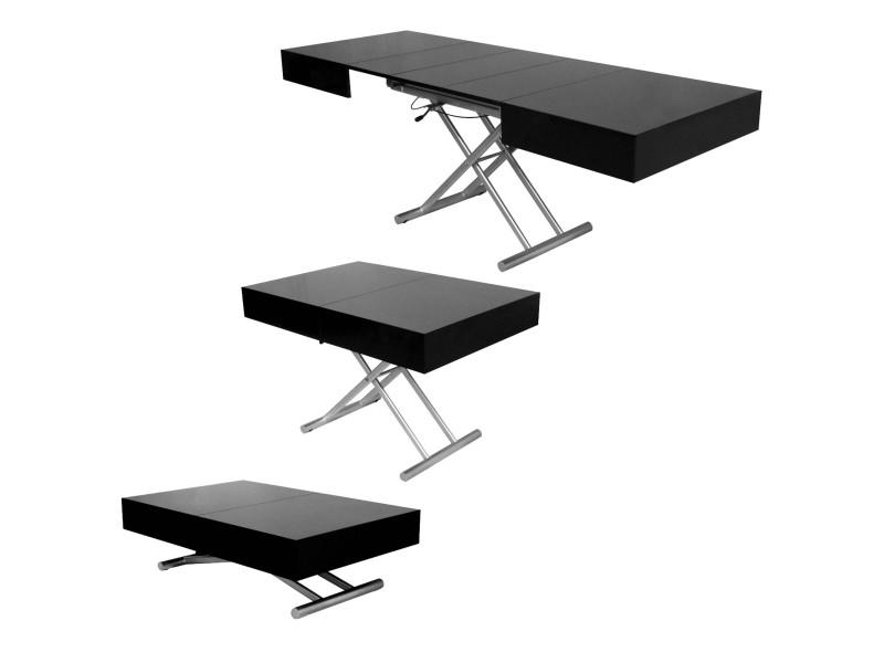 Table basse relevable extensible laquée noir smart xxl