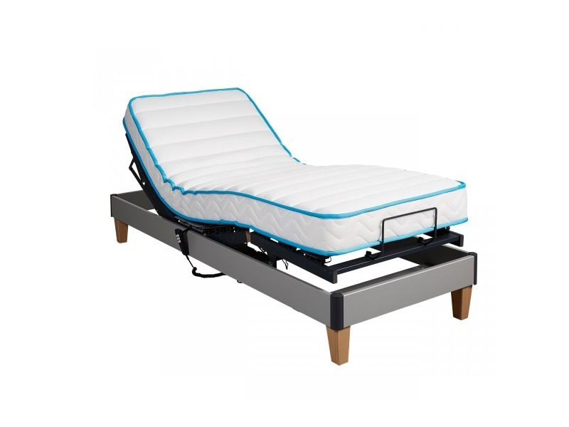 Ensemble relaxation someo latex 50 sommier tpr 30 gris alu 2x80x200