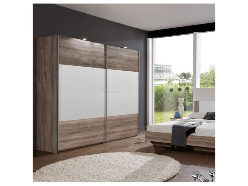 Armoire eva portes coulissantes largeur 180 chêne châtaigne / blanc 20100889708
