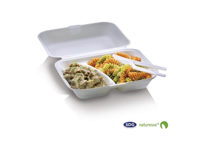 Boîte 2 compartiments pulpe de cellulose biodégradable 650 ml - sdg - lot de 250 - pulpe de cellulose 65 cl