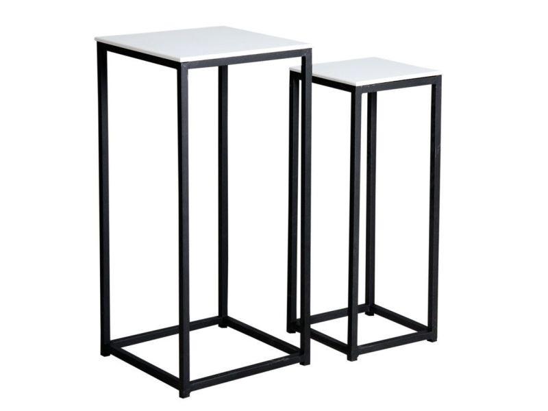 Sellettes carrées en bois et métal (lot de 2)