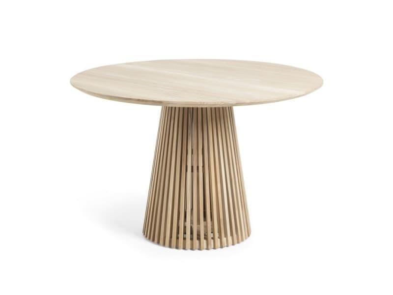 Table à manger ronde 120 cm en teck massif naturel ariana - l 120 x l 120 x h 78