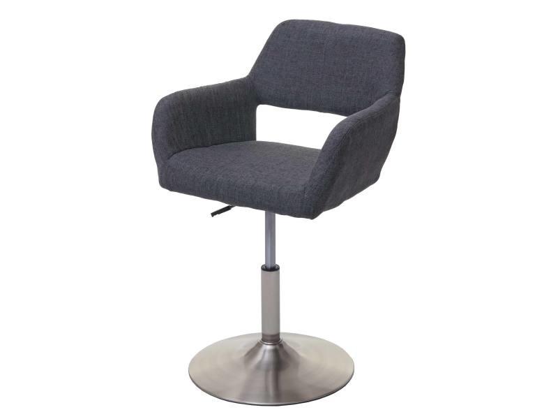 Chaise de salle à manger hwc-a50 iii, style rétro années 50, tissu ~ gris foncé, pied en métal brossé
