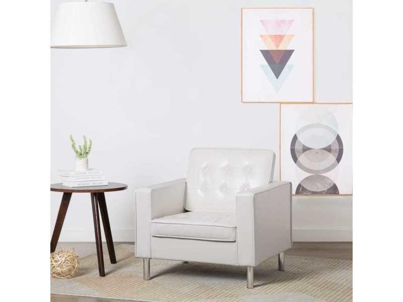 Stylé fauteuils gamme abuja fauteuil revêtement de simili-cuir 75 x 70 x 75 cm blanc
