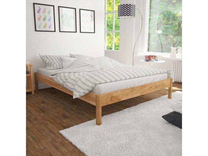 Vidaxl lit double avec matelas chêne massif 140 x 200 cm 274721 - Vente de  VIDAXL - Conforama e0af0f30858e