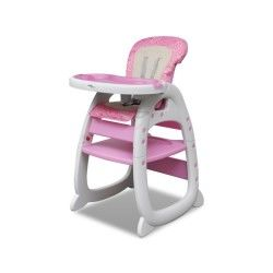 Vidaxl chaise haute convertible 3 en 1 rose