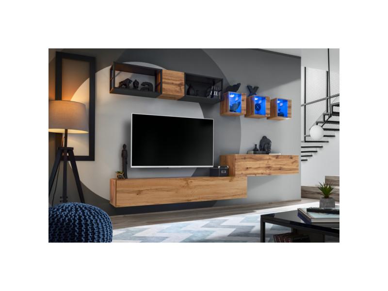 Ensemble meuble tv mural switch met iii - l 280 x p 40 x h 170 cm - marron