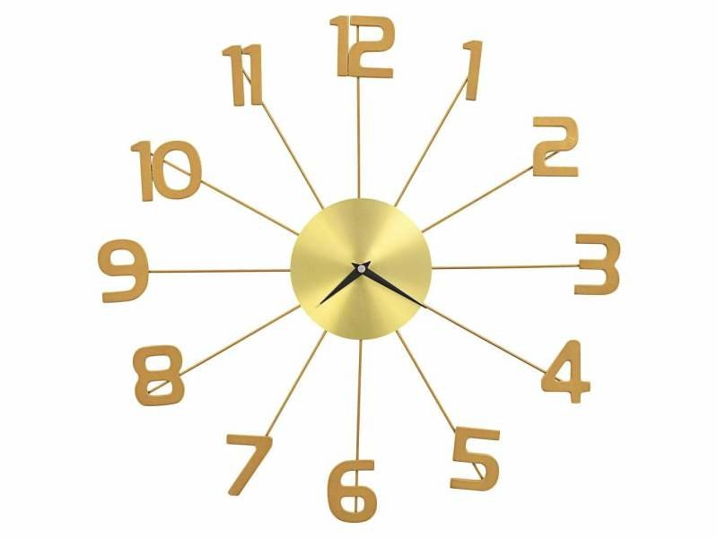 Horloge murale métal 50 cm doré dec022218
