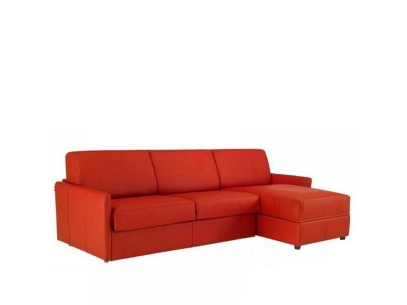 Canapé d'angle sun convertible ouverture rapido 140cm polyuréthane rouge 20100828955