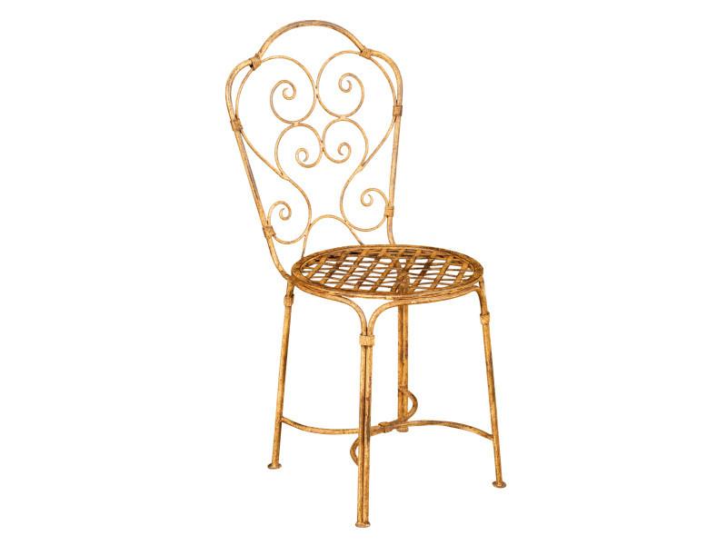 Chaise de salle à manger de jardin d'extérieur en fer forgé avec finition crème antique