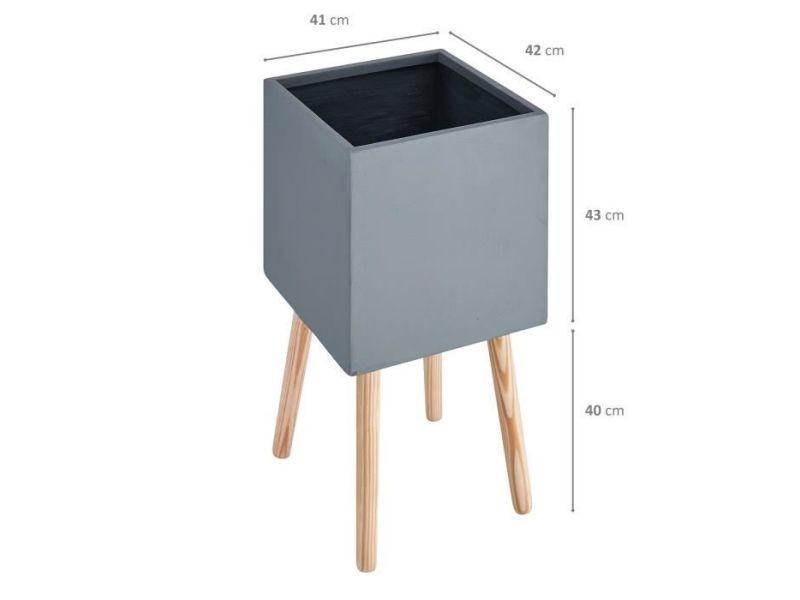 Cache-pot pot carré sur pieds en bois - 50 x 50x 50 cm - pieds: 40 cm - gris anthracite