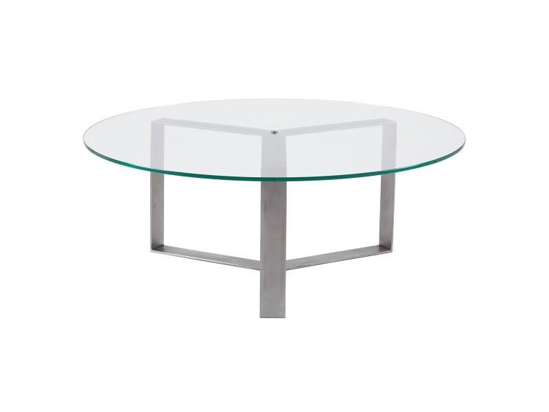 Table basse ronde design verre et métal