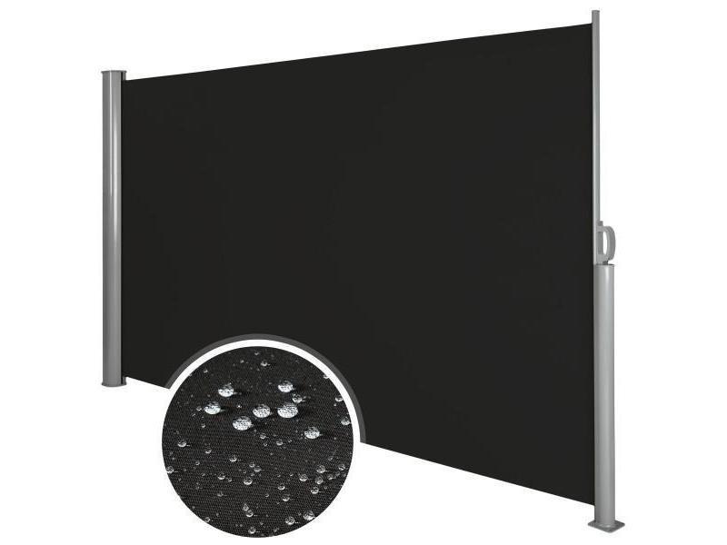 Auvent store latéral brise-vue abri soleil aluminium rétractable 180 x 300 cm noir helloshop26 2208014