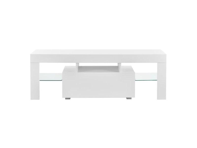 Meuble tv avec éclairage led multicolore banc support design avec étagères 130 cm blanc helloshop26 03_0005859