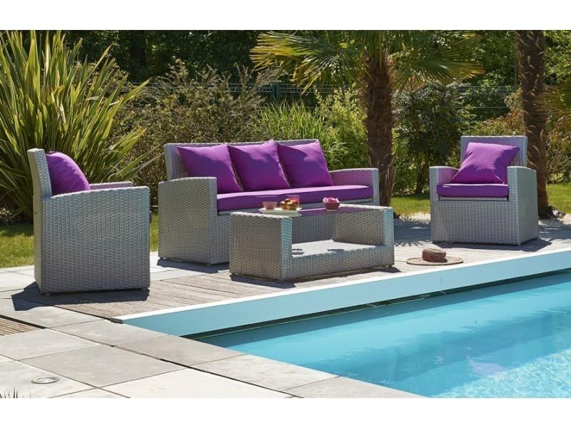 Salon de jardin + totem 7 places coloris gris sidéral - Vente de ...