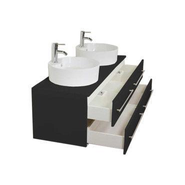 Meuble salle de bain double vasque novum xl noir satin - Meuble vasque salle de bain conforama ...