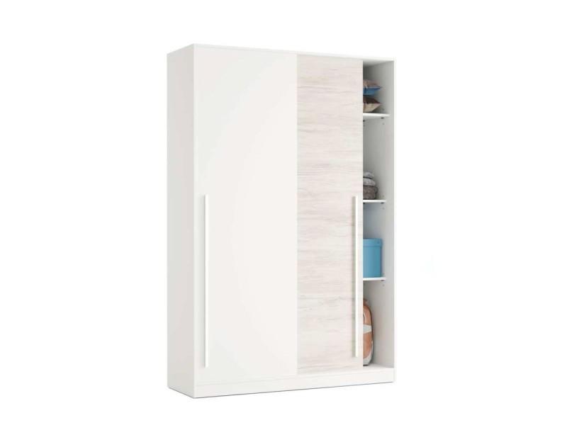 Armoire avec 2 portes coulissantes coloris blanc artic / blanc poli - hauteur 200 x longueur 120 x profondeur 50 cm