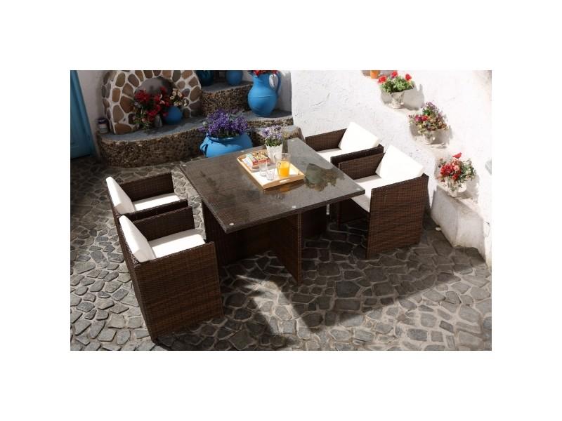 Miami 4 marron/blanc : salon encastrable 4 personnes en résine tressée marron poly rotin