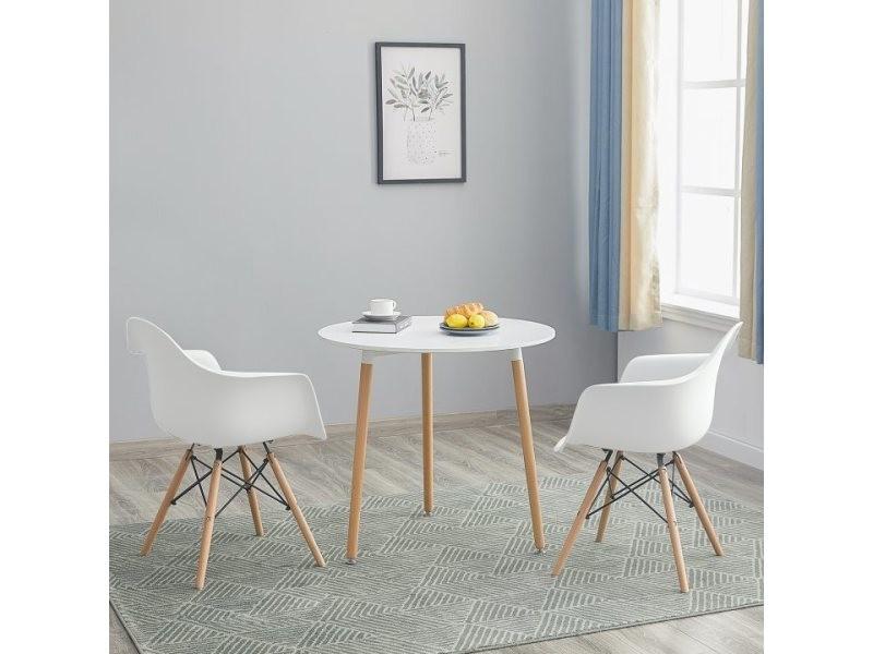 Table à manger ronde de 2 à 4 personnes blanc scandinave en bois hêtre massif +lot de 2 blanc chaise
