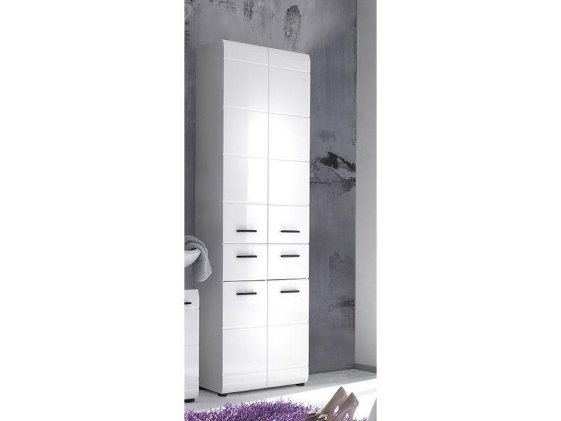 Armoire de rangement pour salle de bain 182 cm coloris blanc laqué p-30845-co c-turkova - Vente ...