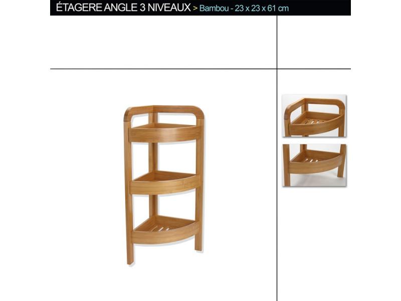 etag re d 39 angle de 3 niveaux en bambou pm h61 x p23 x l23 cm pegane vente de etag re. Black Bedroom Furniture Sets. Home Design Ideas