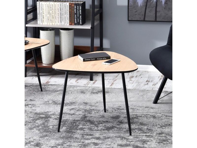 Table basse - rosin - 59x56 cm - chêne / noir - style industriel